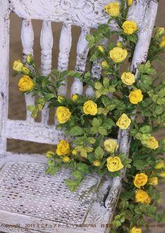 椅子に絡む蔓薔薇/ミニチュアドール ガーデン