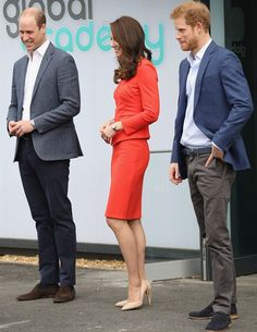20 April 2017 - William, Kate and Harry open The Global Academy - suit by Armani, shoes by Rupert Sanderson, clutch by Etui Bags