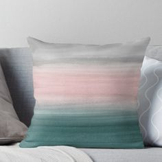 Touching Teal Blush Gray Watercolor Abstract Throw Pillow by anitabellajantz