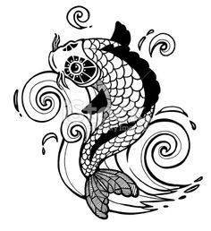 Carpe Koï, Tatouage, Culture japonaise, Poisson, Dessin Illustration vectorielle libre de droits