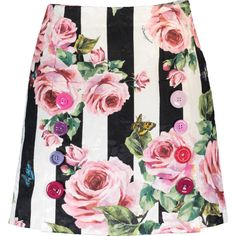 Dolce & Gabbana  Stripe And Rose Print Skirt ($995) ❤ liked on Polyvore featuring skirts, striped skirts, pink striped skirt, slit skirt, zip skirt and rose skirt