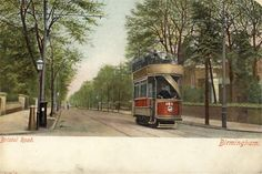 Tram, Bristol Road, Birmingham, Old Postcard Old Pictures, Old Photos, Birmingham England, West Midlands, Local History, Best Cities, Vintage Postcards, Buses, Bristol