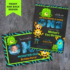 Monster Theme Birthday Invitation First Birthday invitations