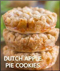 Best Dessert Recipes, Special Recipes, Fun Desserts, Holiday Recipes, Cookie Recipes, Apple Pie Cookies, Fun Cookies, Dutch Apple, Apple Filling