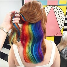 Looking back at the best of 2016 hair trends. Last year was an eventful year for. Looking back at the best of 2016 hair trends. Last year was an eventful year for rainbow hair trends. Metallic hair, glow in the dark hair. and much more! Hair Color Underneath, Under Hair Color, Hidden Hair Color, Short Rainbow Hair, Hidden Rainbow Hair, Short Hair, Rainbow Dyed Hair, Hair Styles 2016, Dyed Hair