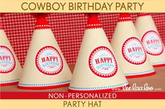 Cowboy Birthday Party - Party Hat & Bonus: Name Tags NonPersonalized Printable // Cowboy Wild West - B29Nb