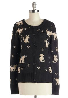 I'll Miss Mew Cardigan - Black, Tan / Cream, Print with Animals, Long Sleeve, Better, Knit, Cats, Button Down, Scoop, Buttons, Casual, Hallo...