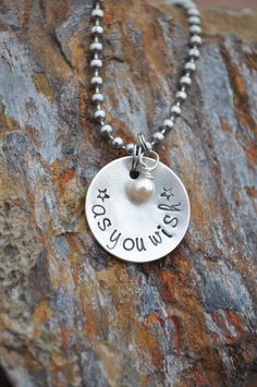 As You Wish Metal Stamped Necklace. $28.00, via Etsy.