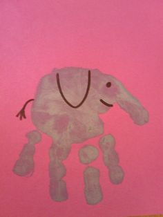 Handprint elephant.  Apparently I like the handprint art stuff to do with my toddler because I can't think of this stuff on my own! :)