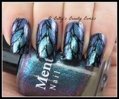 http://www.bettysbeautybombs.com/2015/04/02/butterfly-wings-nail-art/ / Mentality Agere stamped with MDU Black
