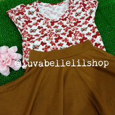 Red Butterflies/Brown Skater Skirt for Toddlers
