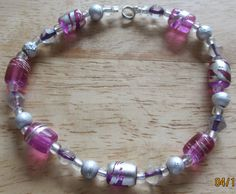 BRACELET or ANKLE BRACELET with Pink and Silver by sharonplante, $10.00