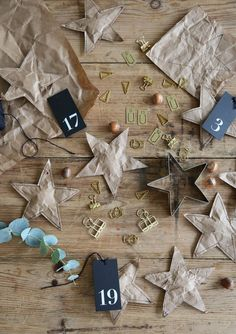 Stitched brown paper stars.