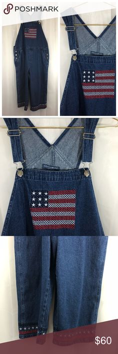 🇺🇸 Vintage Americana overalls! 🇺🇸 AMAZING vintage overalls with an American flag cross stitch on the bib and patriotic cross stitched threads around the legs.  These are ankle length with wide legs.  Perfect overalls for the Fourth of July!!  I ship daily! Offers are welcome on all listings! ❤️ 💥CHECK OUT MY CURRENT SALE! 25% OFF EVERYTHING AND OTHER DISCOUNTS! 💥 Vintage Other