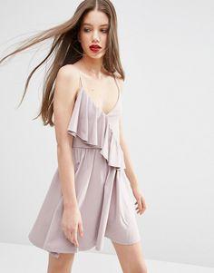Image 1 ofASOS Mini One Sided Ruffle Skater Dress