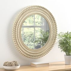 Seville Cream and Brushed Gold Round Wall Mirror - x - , available to buy online or at Choice Furniture Superstore UK on stockist sale price. Get volume - discount with fast and Free Delivery. Hallway Mirror, Round Wall Mirror, Round Mirrors, Funky Mirrors, Mirrors For Sale, Framed Mirrors, Lucca, Colors