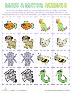 Send your sponsored child one of these Memory Games Worksheets: Animals Matching Game