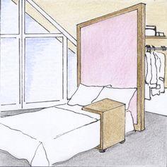 Das Thema Stauraum ist in Wohnungen mit Dachschräge oftmals ein großes Problem, da meist schlichtweg gerade Wände fehlen, an denen klassische Stauraummöbel wie z.B. ein großer Schrank platziert werden können.