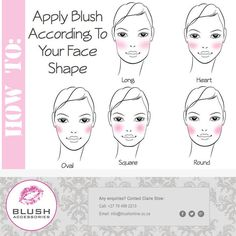 #Monday #Makeup #tip: Blush For Your Face Type In order to apply blush where it will be most flattering on you, first determine your face shape. Blush not only adds color, but also contours and defines your cheek bones. The way you apply your blush can accentuate your best features and also soften those that are perhaps too prominent.