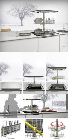 Designer Mohsen and Behzad's vertical dishwasher' tackles the more obvious problem of space in today's cramped apartment with a novel design that opens upwards. Read More: http://www.yankodesign.com/2016/11/16/the-gravity-defying-dishwasher/