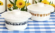 Pyrex margarine dishes, Old Town Blue, Butterfly Gold