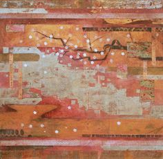 """Karisome – Transience"", Nerina Lascelles. Mixed media, collage and encaustic wax on canvas"