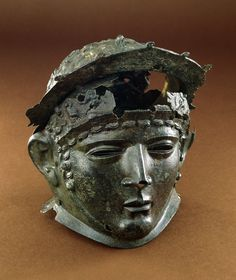 Cavalry sports helmet, Roman Britain, late 1st or early 2nd century AD, From Ribchester, Lancashire, Copper alloy, H: 276 mm © British Museum.