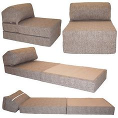 Cotton Print Single Chair Bed Z Guest Fold Out Futon Sofa Chairbed Matress Gilda Ebay