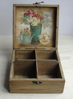 by DecoupageMargaret Wooden tea box. Tea Storage B Wooden Tea Box, Wooden Diy, Wooden Boxes, Wooden Chest, Tea Bag Storage, Diy Storage Boxes, Tea Organization, Decoupage Box, Tea Gifts