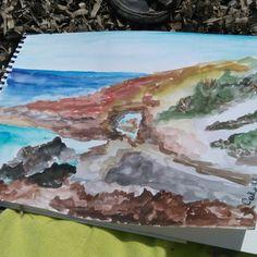Seaside Rocas frente al mar Casablanca Watercolor acuarela  2016