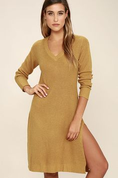 Serve up a sweet OOTD with the Somedays Lovin' Honey Jam Mustard Yellow Sweater Dress! This knit sweater dress is full of unique features, like a modern, midi length skirt (with side slits), and a peekaboo cutout at back. Ribbed detail accents the V-neck, cuffs, and hem.