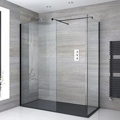 Milano Nero – Corner Wet Room Shower Enclosure with Hinged Return Panel – Choice of Glass Size & Drain - Modern Bathroom Shop, Big Bathrooms, Downstairs Bathroom, Bathroom Interior, Wet Room Bathroom, Wet Room Shower, Shower Drain, Walk In Shower Enclosures, Shower Systems