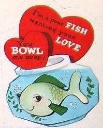 VINTAGE VALENTINE FISH BOWL