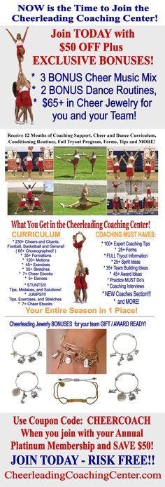 Are you ready to make your cheerleading season EASY and more FUN?! Join the Cheerleading Coaching Center today and receive EVERYTHING you need for your season all in 1 place including: curriculum, forms, coaching tips, music, motivation and MORE! Use code CHEERCOACH and receive $50 Off your Annual Platinum Membership :-)