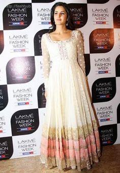 Katrina Kaif looking elegant as usual in Manish Malhotra Anarkali Frock, White Anarkali, Anarkali Suits, Lehenga, Long Anarkali, Punjabi Suits, Frock Design, Indian Attire, Indian Ethnic Wear