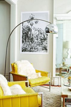 Perfect pops of color in this living room