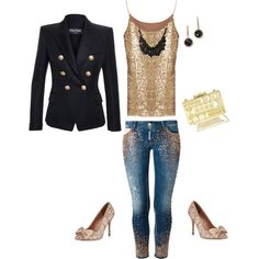 Girl's Night Out by Deranged Diva. A fashion look from February 2015 featuring Balmain blazers, Dsquared2 jeans and Carvela Kurt Geiger pumps. Browse and shop related looks.