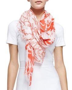 Ethereal Floral-Print Scarf, Orange/White by Oscar de la Renta at Neiman Marcus.