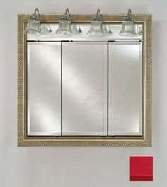 "Afina Corporation TD-LT4740RCOLRD 47 in.x 40 in.Recessed Traditional Integral Lighted Triple Door - Colorgrain Red by Afina Corporation. $1533.00. Satin anodized aluminum body construction.. Traditional lights.. Triple mirror doors.. 3/8 Adjustable glass shelves.. 3/4 Front bevel (standard).. These Afina Lighted Triple Door Medicine Cabinets from the Signature Collection feature four or five Traditional lights, triple mirror doors, invisible hinges, a standard 3/4"" front bevel a..."