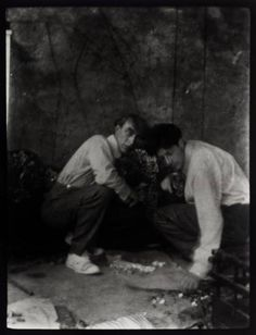 Roger Fry and Duncan Grant working on murals in Fry's home Durbins in Guildford, Surrey, c. 1911 - 1912   Bloombury Group of painters