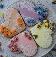Royal icing pansies