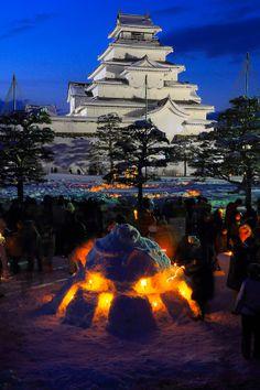 Aizuwakamatsu Castle - Tsuruga Castle, Aizu-Wakamatsu, Fukushima, Japan I grow up with this beautiful city. The Beautiful Country, Beautiful Places In The World, Japanese Culture, Japanese Art, Japanese Castle, Art Nouveau, Fukushima, Art Moderne, Japan Travel
