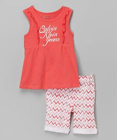 Look what I found on #zulily! Coral Logo Ruffle Top & Shorts - Infant, Toddler & Girls #zulilyfinds