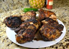 Jamaican Jerk Chicken is a highly spiced recipe for marinating chicken. This authentic Jamaican jerk chicken recipe.with Caribbean rice and peas Lamb Chop Recipes, Pork Recipes, Chicken Recipes, Jamaican Recipes, Easy Recipes, Healthy Recipes, Unique Recipes, Marinated Pork Chops, Grilled Lamb Chops