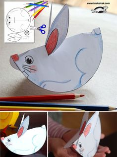 Patterns for paper animals Easter Activities, Preschool Crafts, Preschool Activities, Preschool Kindergarten, Bunny Crafts, Easter Crafts, Spring Crafts, Holiday Crafts, Diy Ostern
