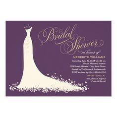 Wedding Bridal Shower Invitations | Elegant Wedding Gown Design in soft white / ivory, plum / aubergine purple, and champagne gold color scheme