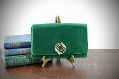 Vintage Green Velvet Clutch  Retro Emerald Green by LoAndCoVintage