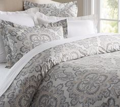 $99! Ainsley Paisley Duvet Cover Sham in Grey | Pottery Barn