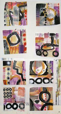 Jane Davies, collage journeys: Scribble Painting Progress
