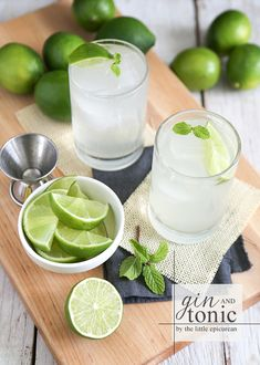 Gin & Tonic 2 oz gin 4 oz tonic water 1 Tbsp fresh lime juice ice, as needed lime wedge mint sprig